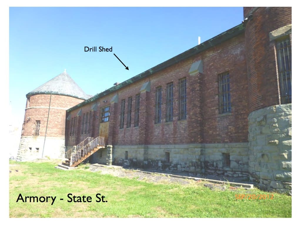 Armory State St. side showing drill shed, Hudson NY
