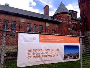 Library banner on the Armory on State St. Hudson NY