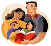 parents reading to kids