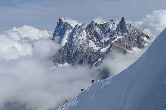 Photograph of climbers on Mont Blanc in Chamonix France