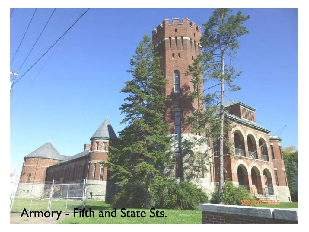 Armory corner of Fifth and State St. Hudson NY - current view