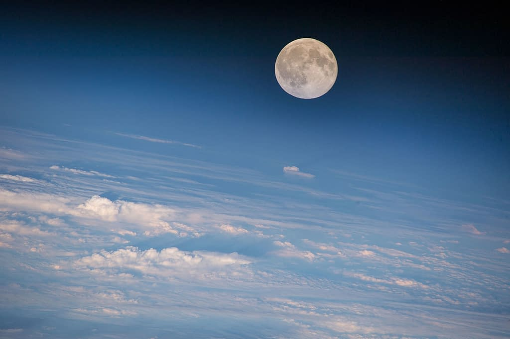 Photograph of a full moon taken from the ISS