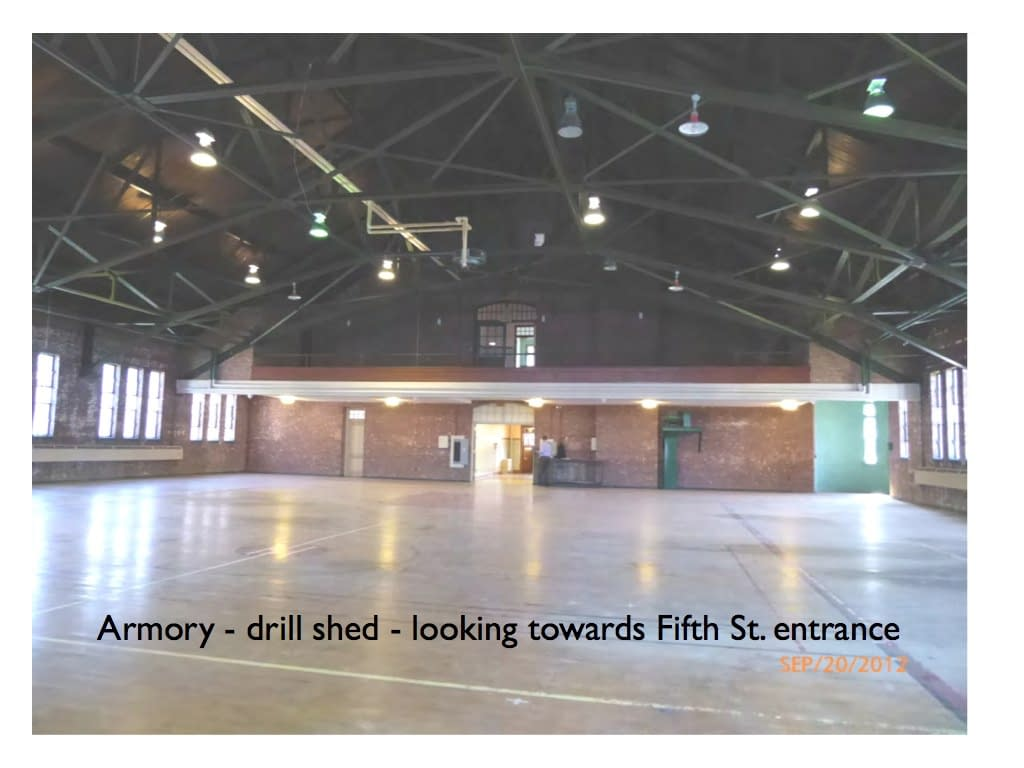 Armory drill shed view looking towards Fifth St. Hudson NY