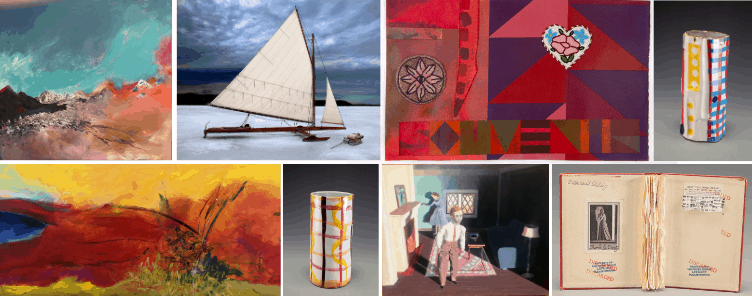 Works of art by Ken Kraus, Kenneth Cooke, Jeffrey Gibson, Arnold Zimmerman, Kathy Osborn and Charles LeDray