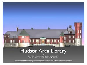 Armory Project Hudson Area Library - night view