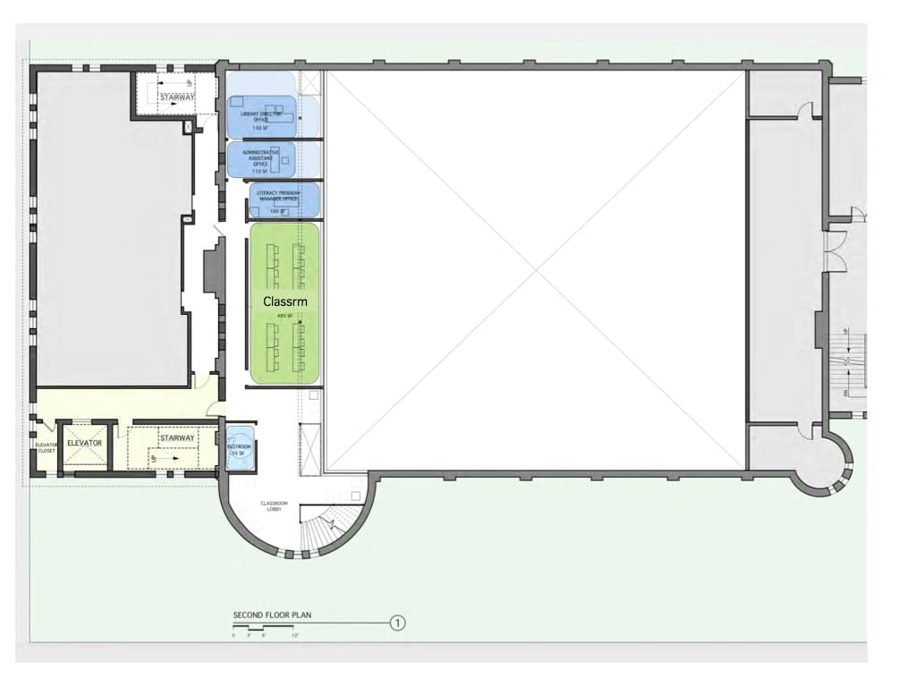 Library schematic for mezzanine over drill shed Armory Hudson NY